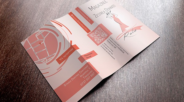 Trifold flyer for clothing store Zestrea Domniței Ralu